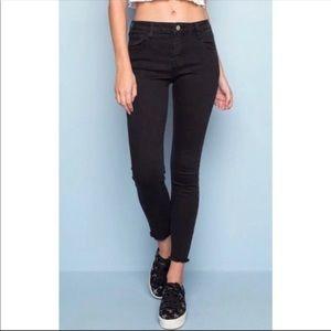 BRANDY MELV. High Rise Ankle Raw Edge Skinny Jeans